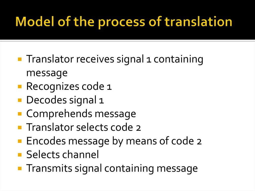 Model of the process of translation