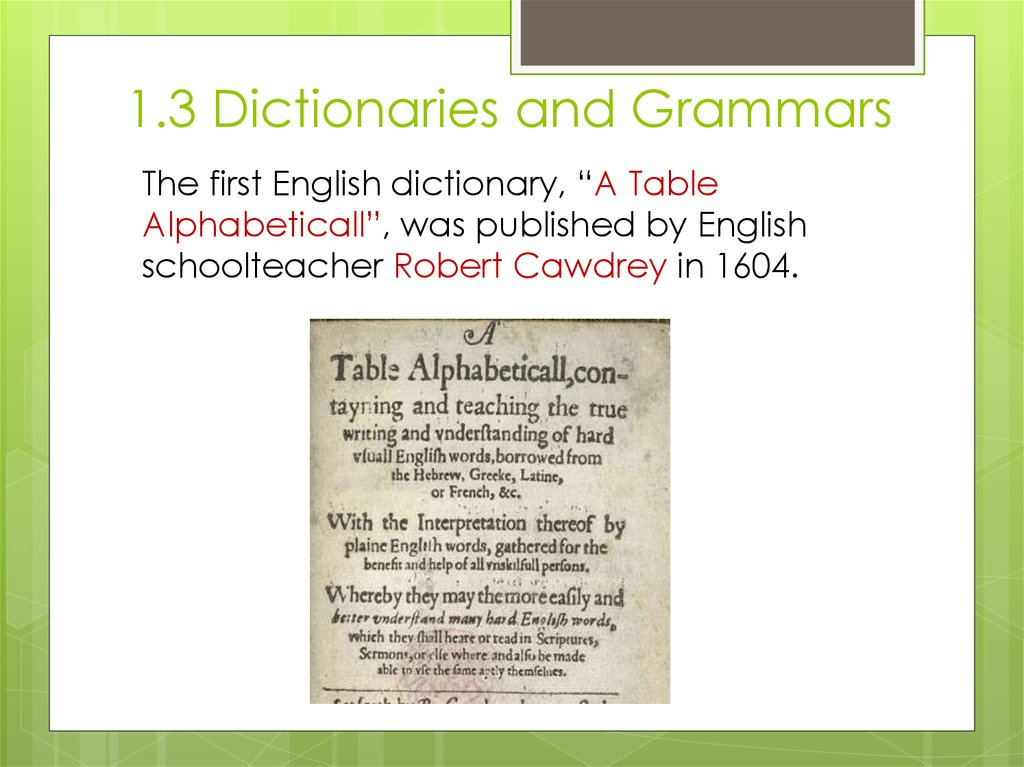 1.3 Dictionaries and Grammars