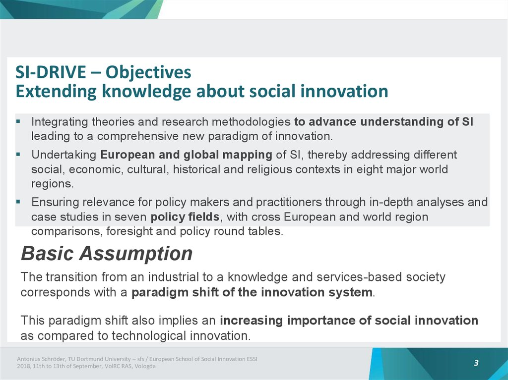 SI-DRIVE – Objectives Extending knowledge about social innovation