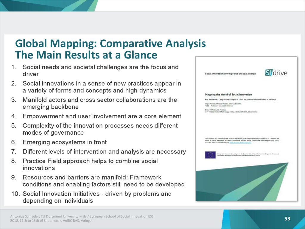 Global Mapping: Comparative Analysis The Main Results at a Glance