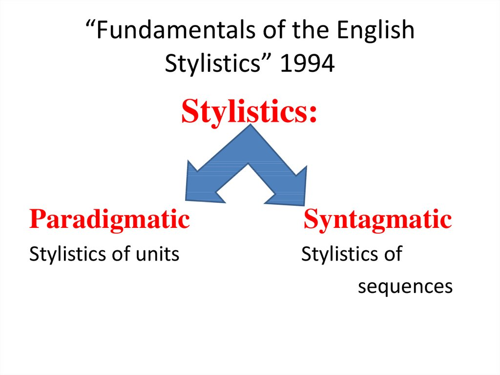 """Fundamentals of the English Stylistics"" 1994"