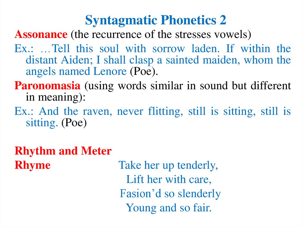 Syntagmatic Phonetics 2