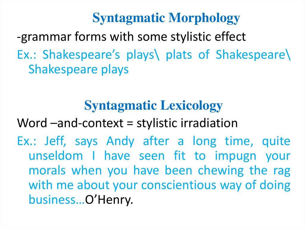 Syntagmatic Morphology