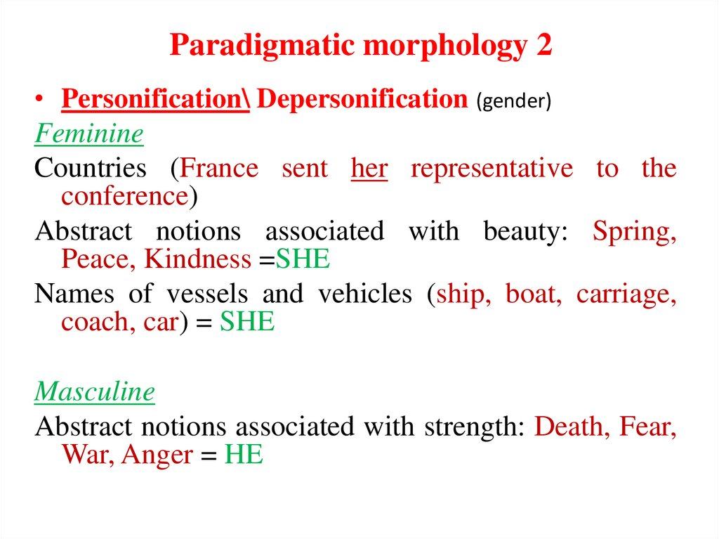 Paradigmatic morphology 2
