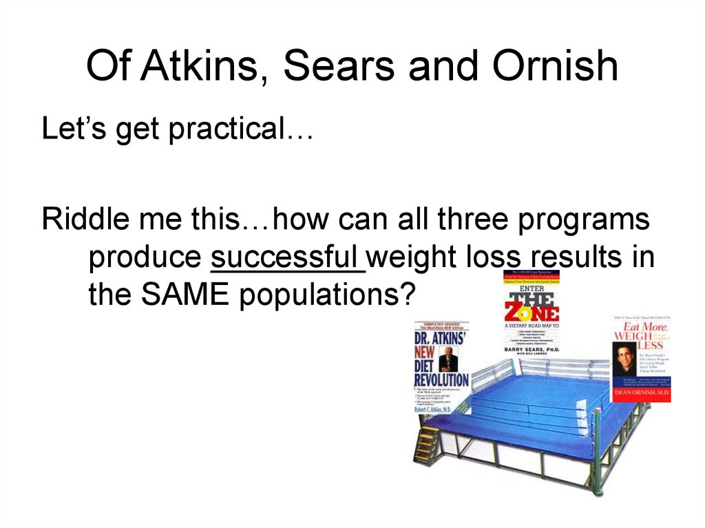 Of Atkins, Sears and Ornish