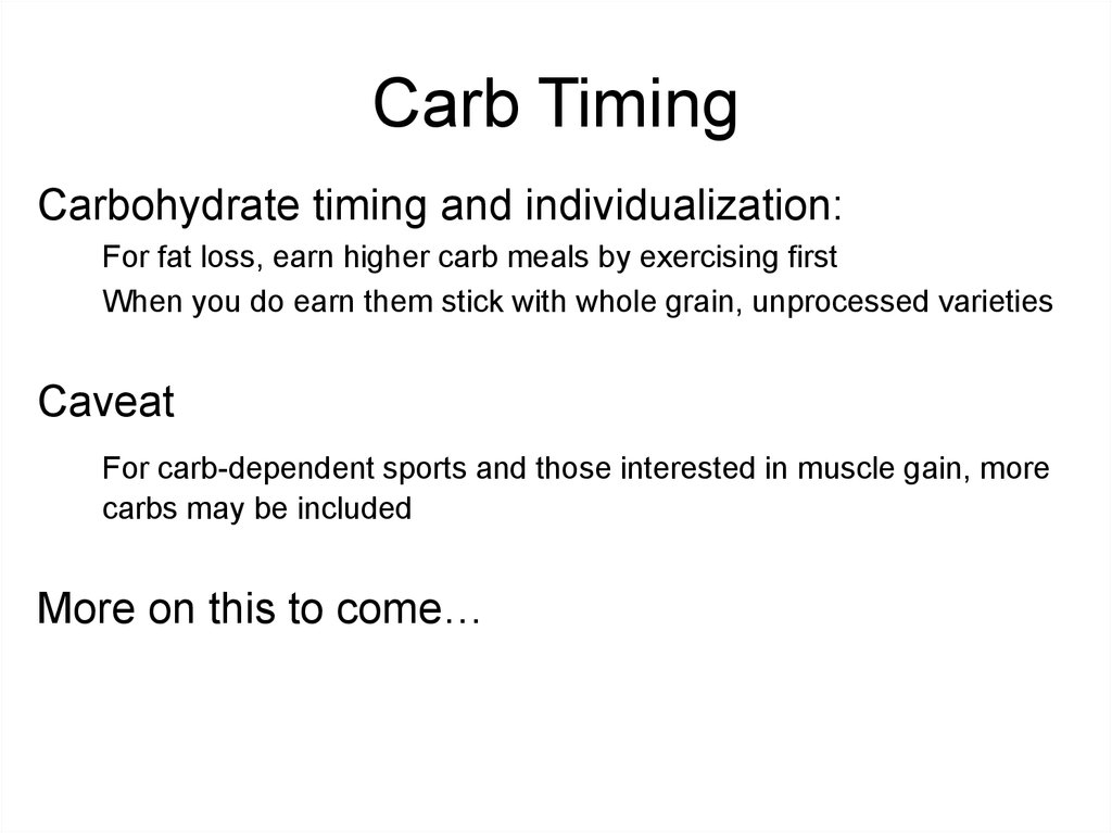 Carb Timing