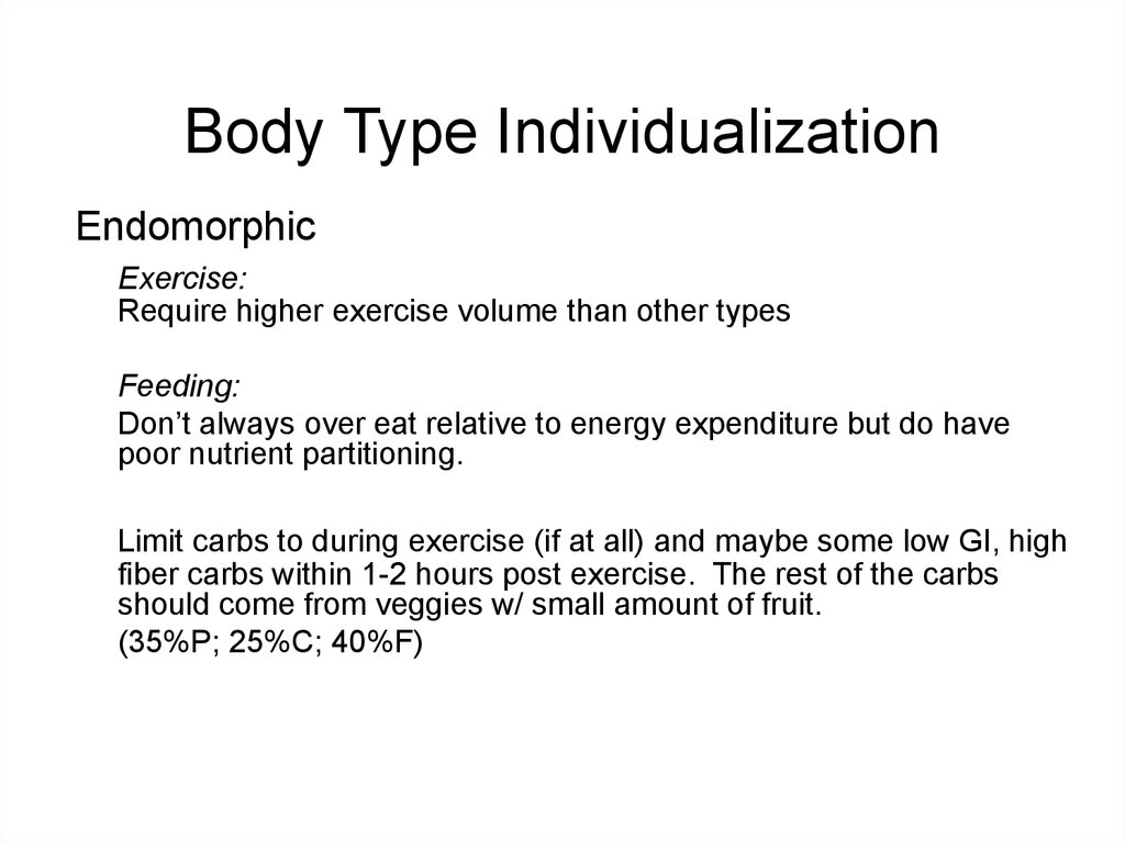 Body Type Individualization