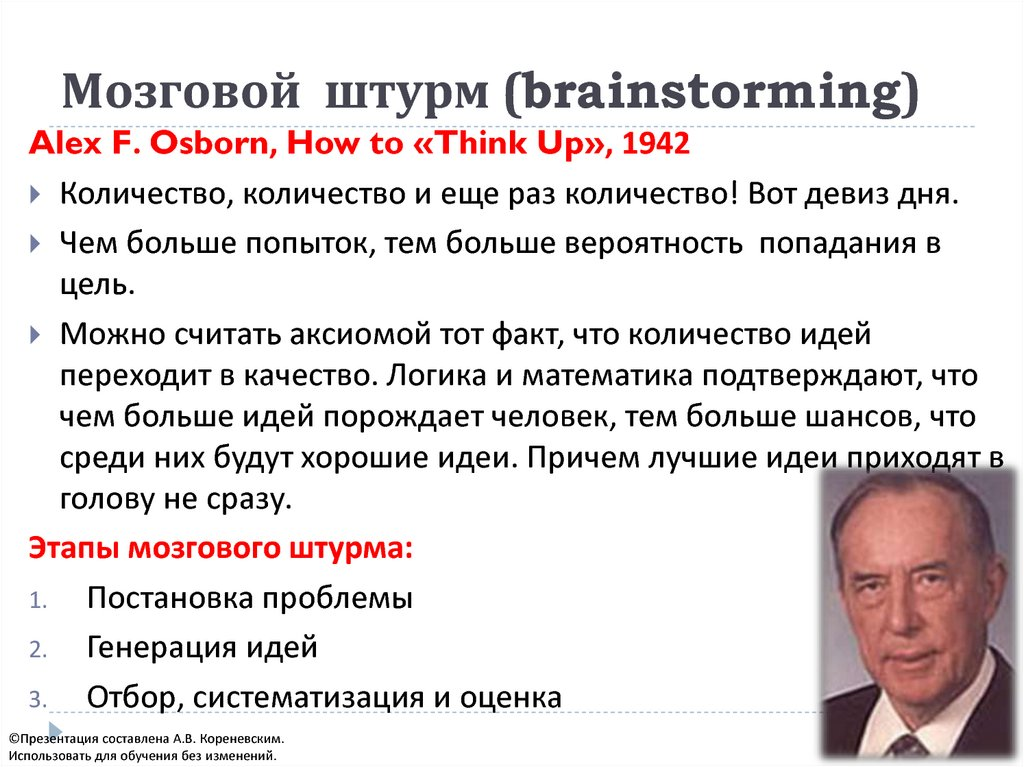 detailed procedures of brainstorming by alex osborn Alex osborn is the o in the agency bbdoin 1953, he wrote a book titled applied imagination: principles and procedures of creative problem-solvinghe was one of the first - if not the first - to write about the practical application of brainstorming and creative problem-solving (cps.