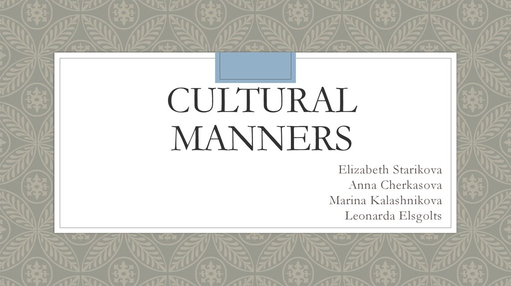 Cultural Manners