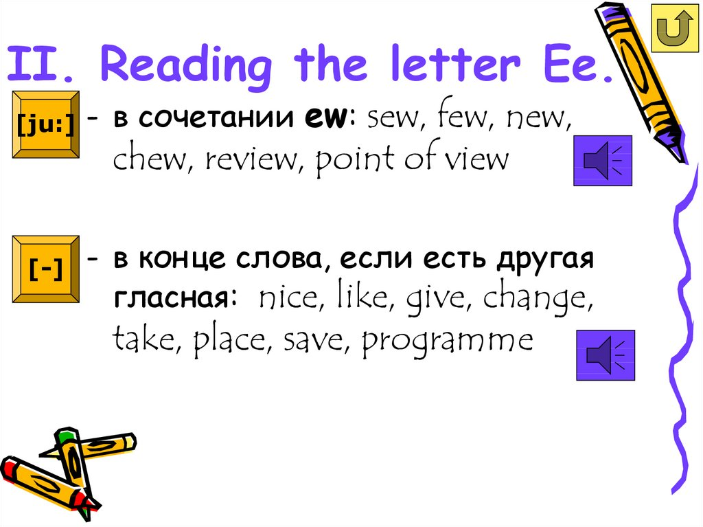 II. Reading the letter Ee.