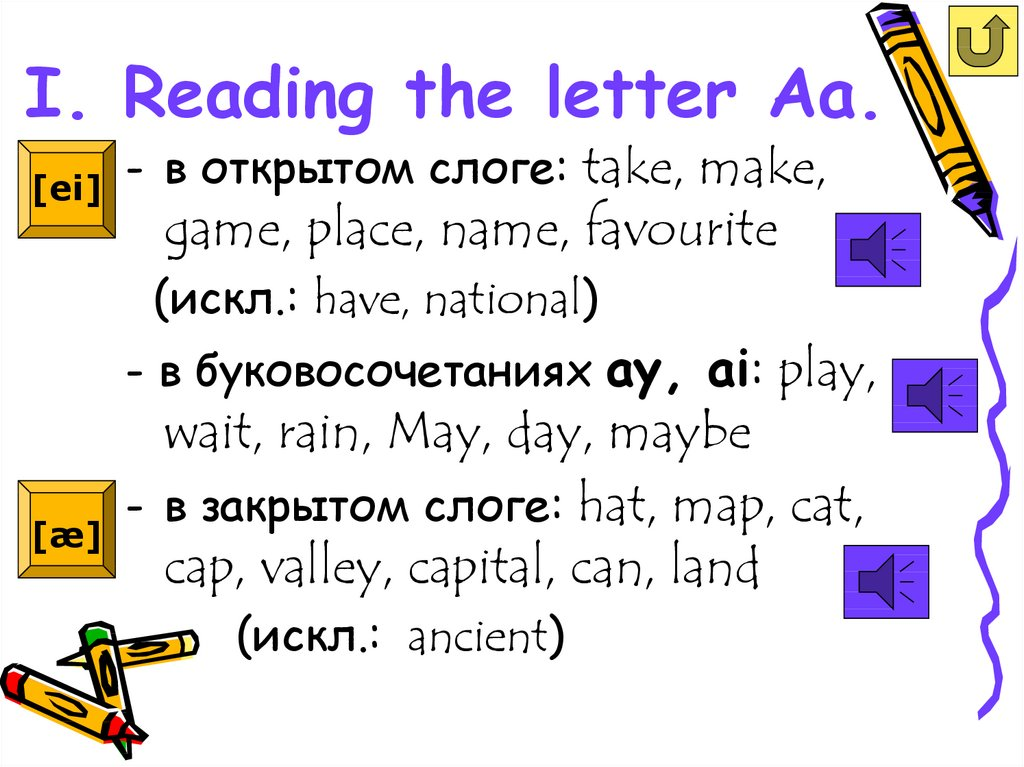 I. Reading the letter Aa.