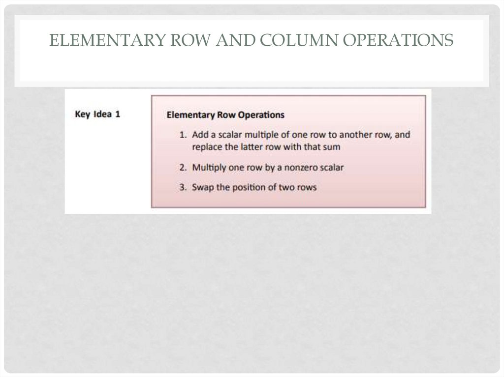 Elementary row and column operations