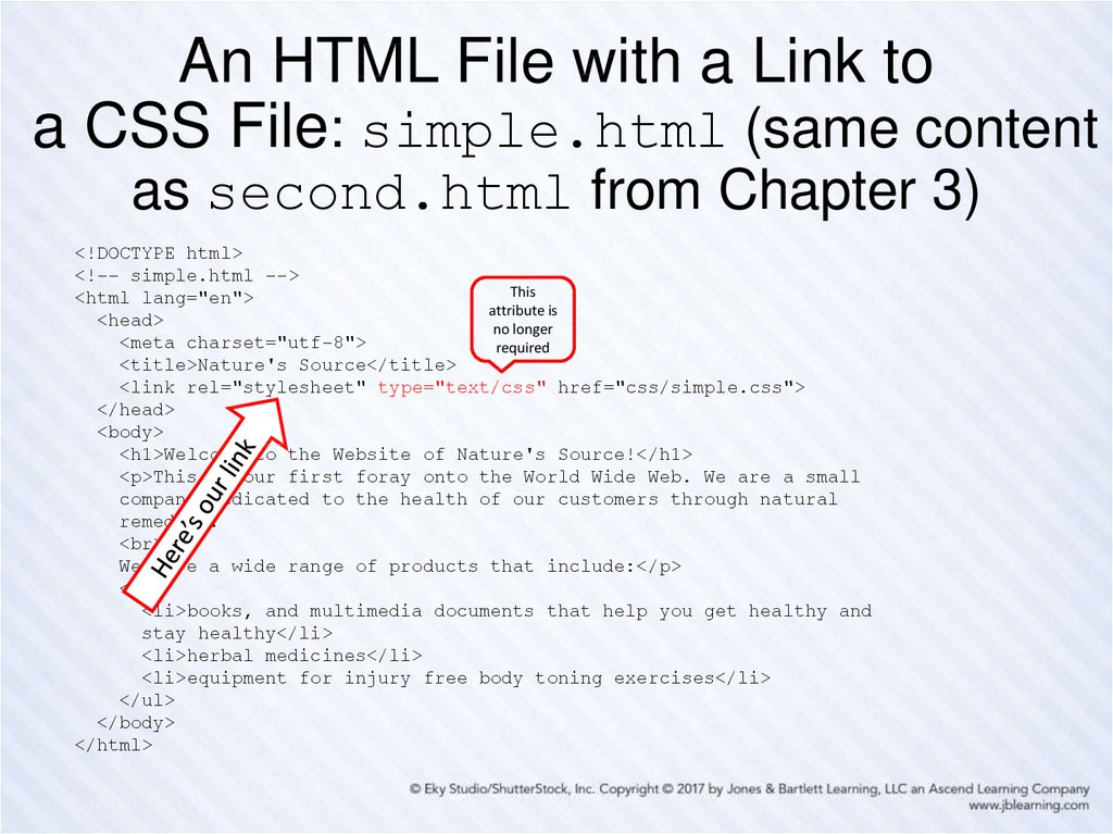 An HTML File with a Link to a CSS File: simple.html (same content as second.html from Chapter 3)