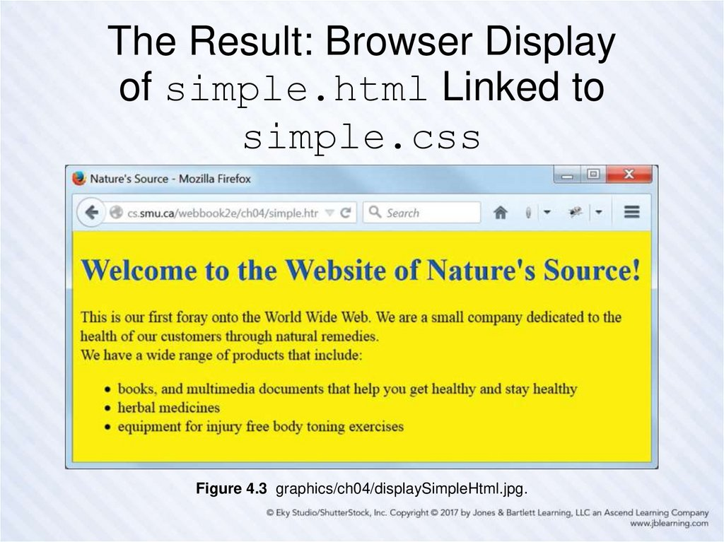 The Result: Browser Display of simple.html Linked to simple.css