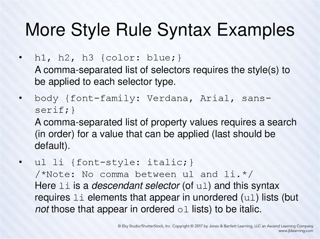 More Style Rule Syntax Examples