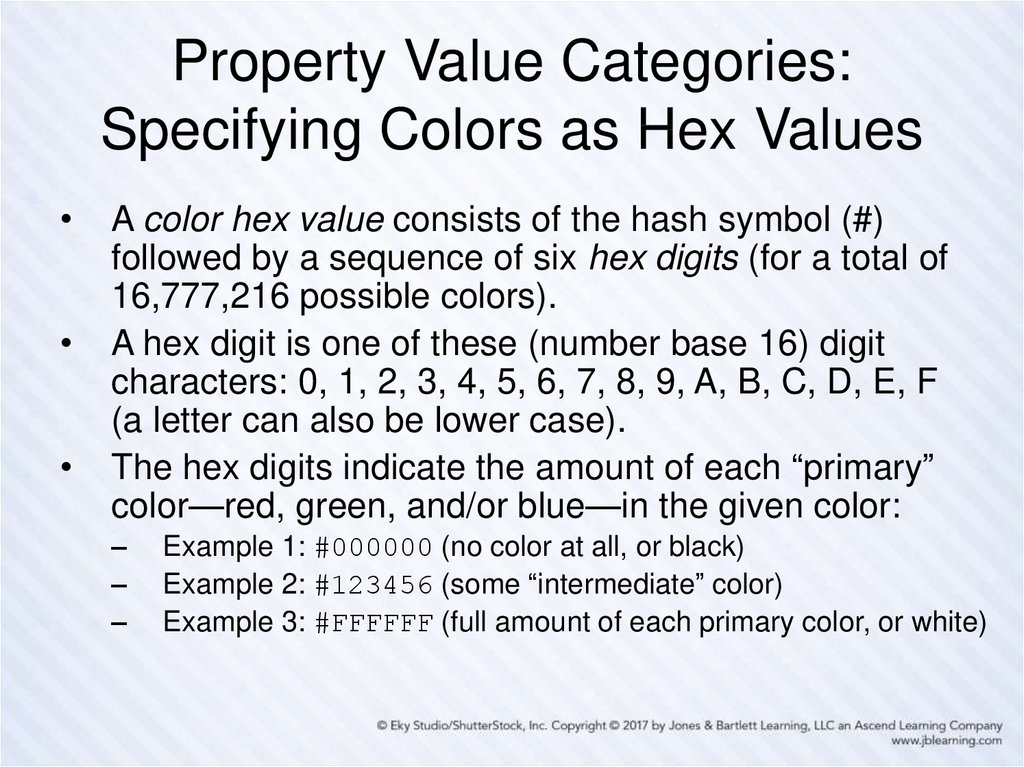 Property Value Categories: Specifying Colors as Hex Values
