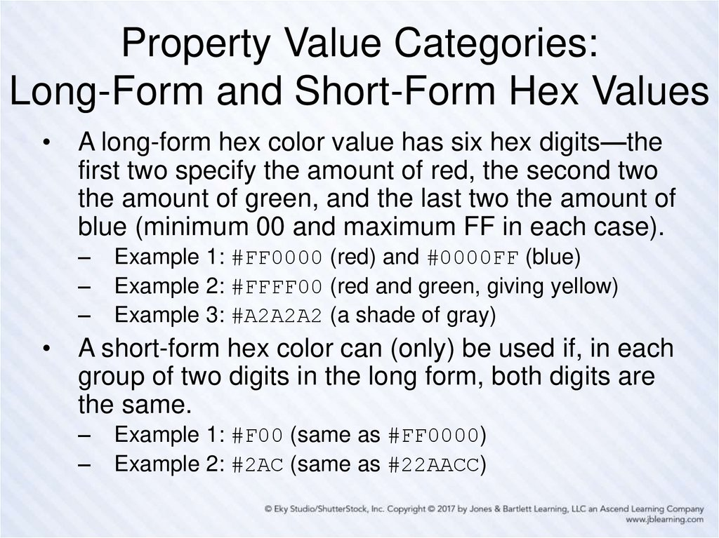 Property Value Categories: Long-Form and Short-Form Hex Values