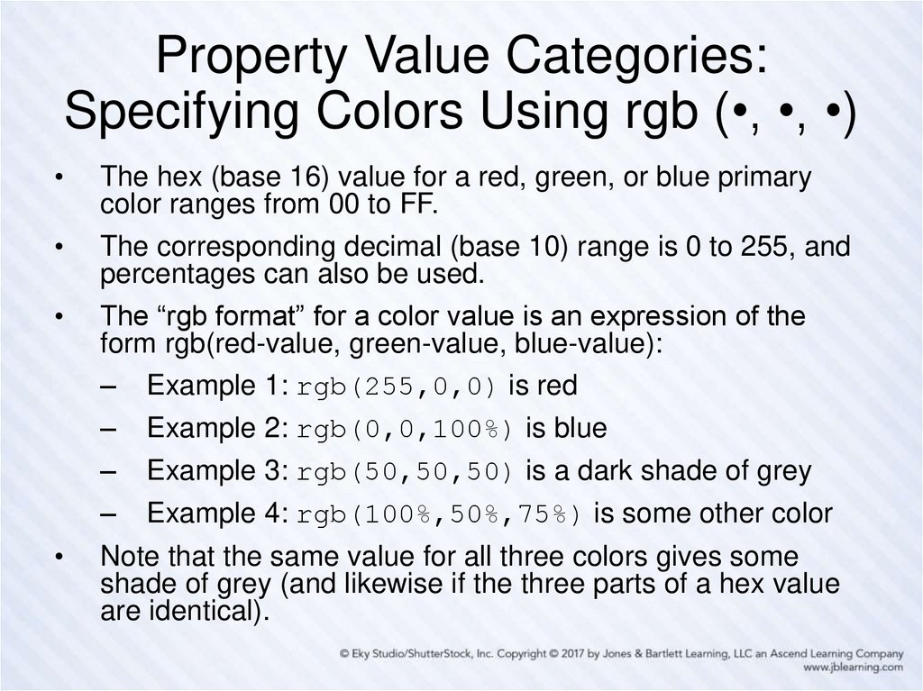 Property Value Categories: Specifying Colors Using rgb (•, •, •)