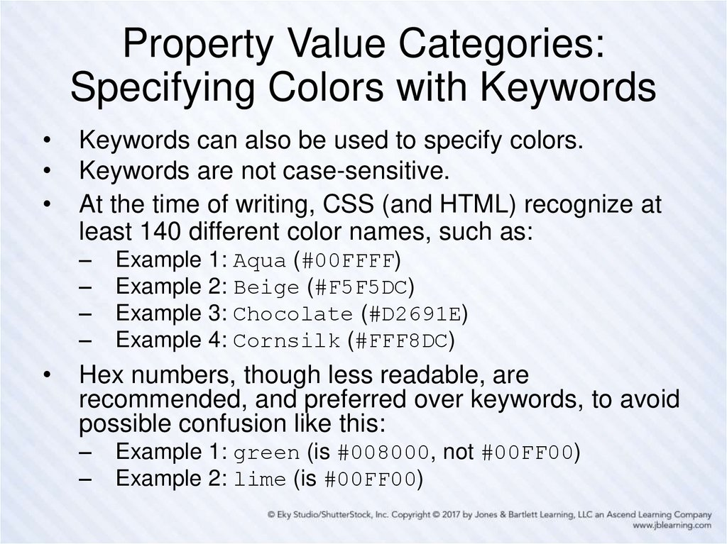 Property Value Categories: Specifying Colors with Keywords
