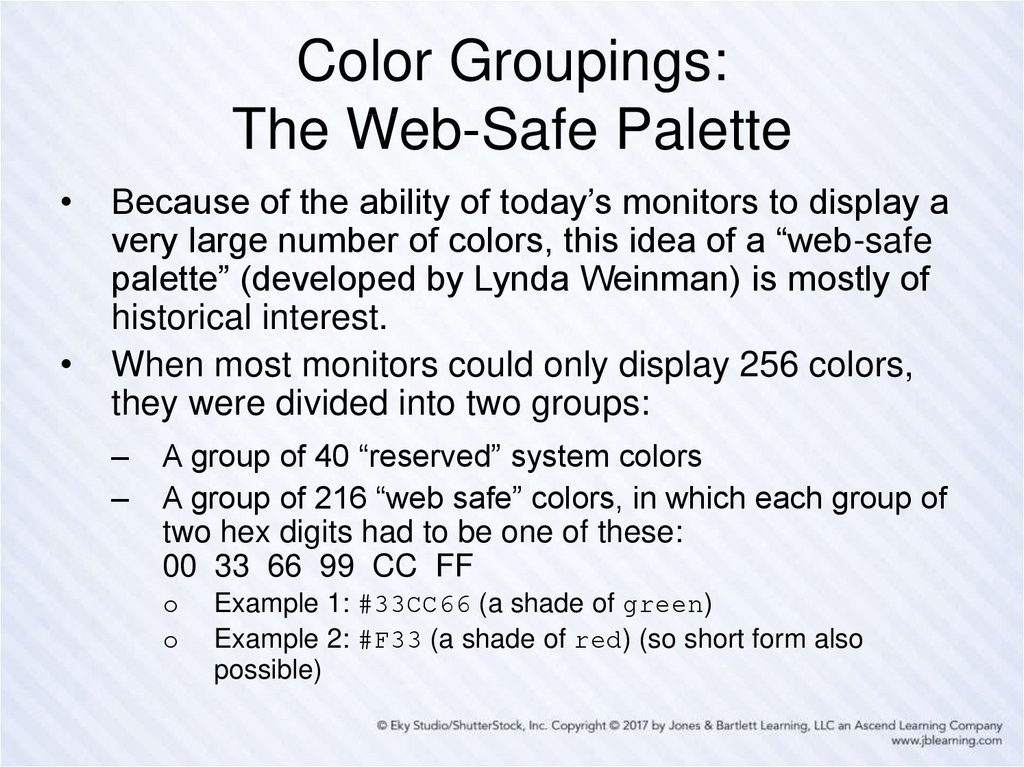Color Groupings: The Web-Safe Palette