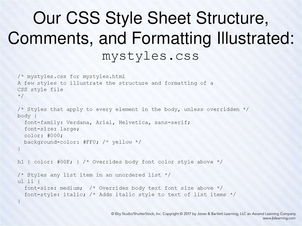 Our CSS Style Sheet Structure, Comments, and Formatting Illustrated: mystyles.css