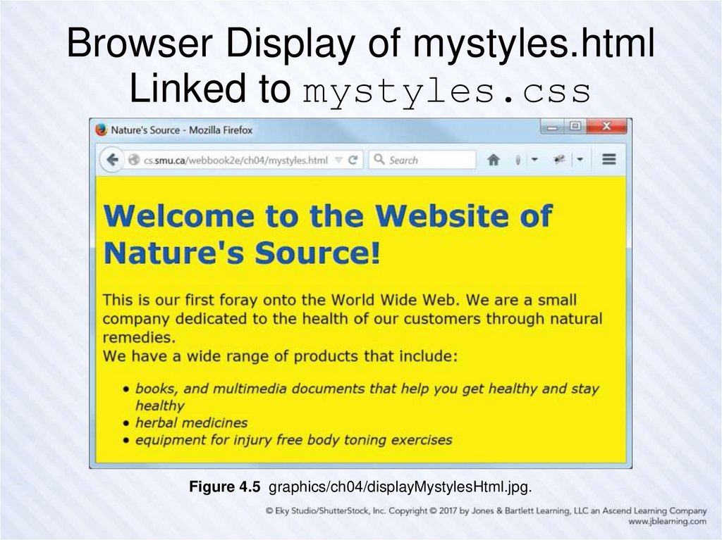 Browser Display of mystyles.html Linked to mystyles.css