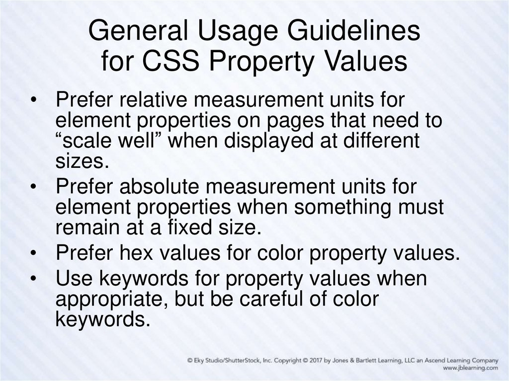 General Usage Guidelines for CSS Property Values