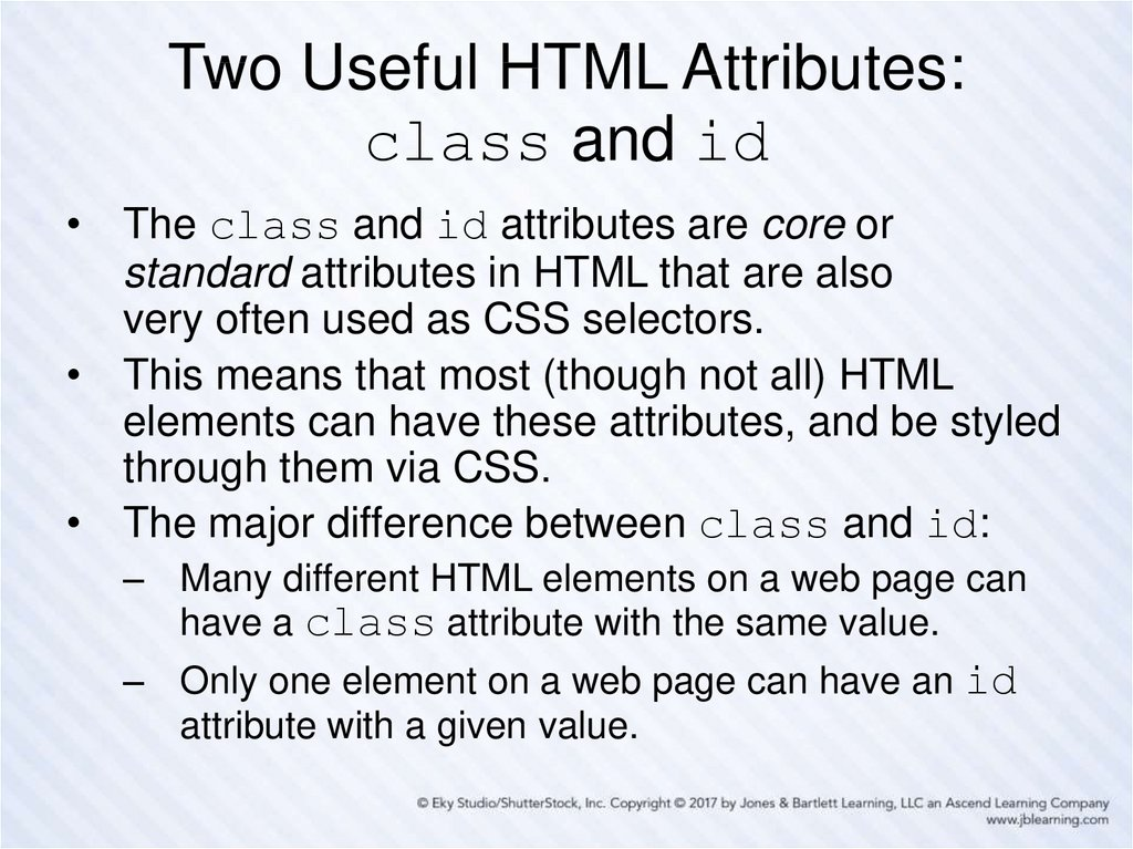 Two Useful HTML Attributes: class and id