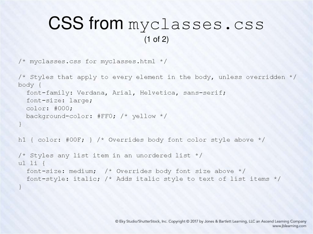 CSS from myclasses.css (1 of 2)