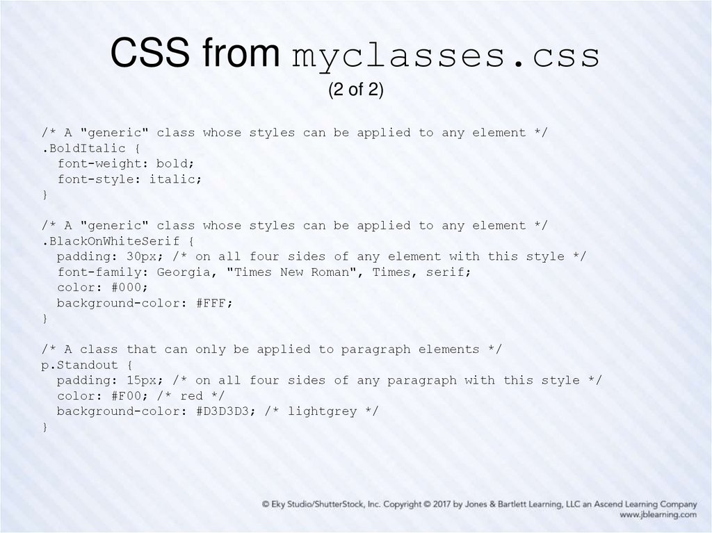 CSS from myclasses.css (2 of 2)