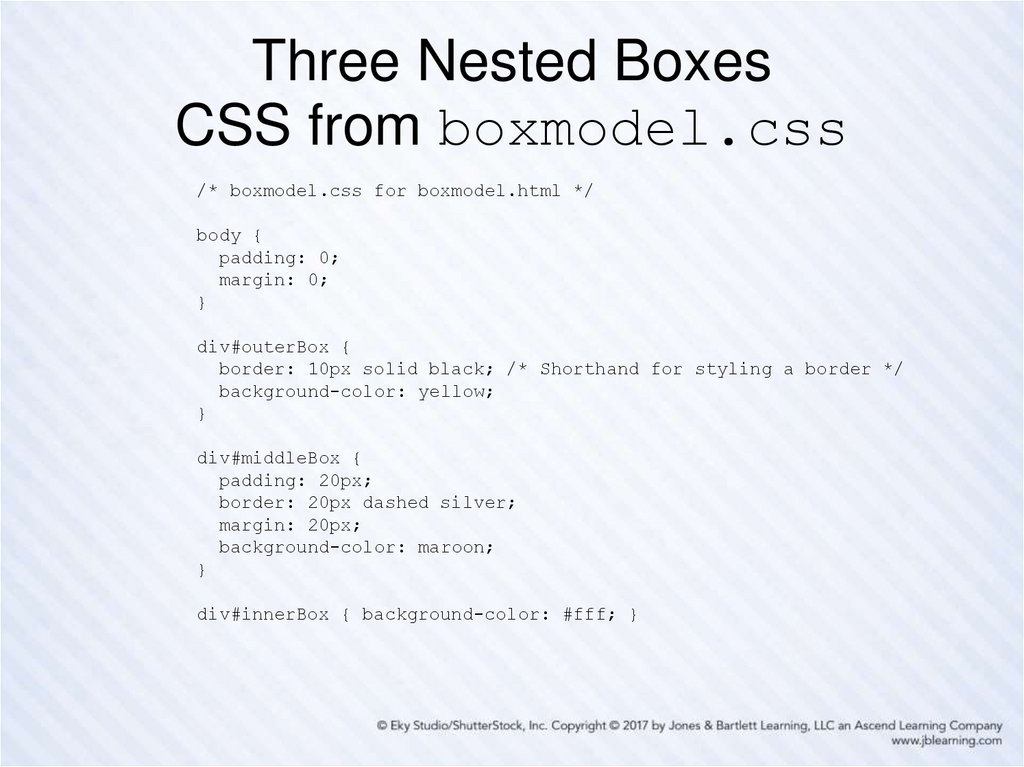 Three Nested Boxes CSS from boxmodel.css