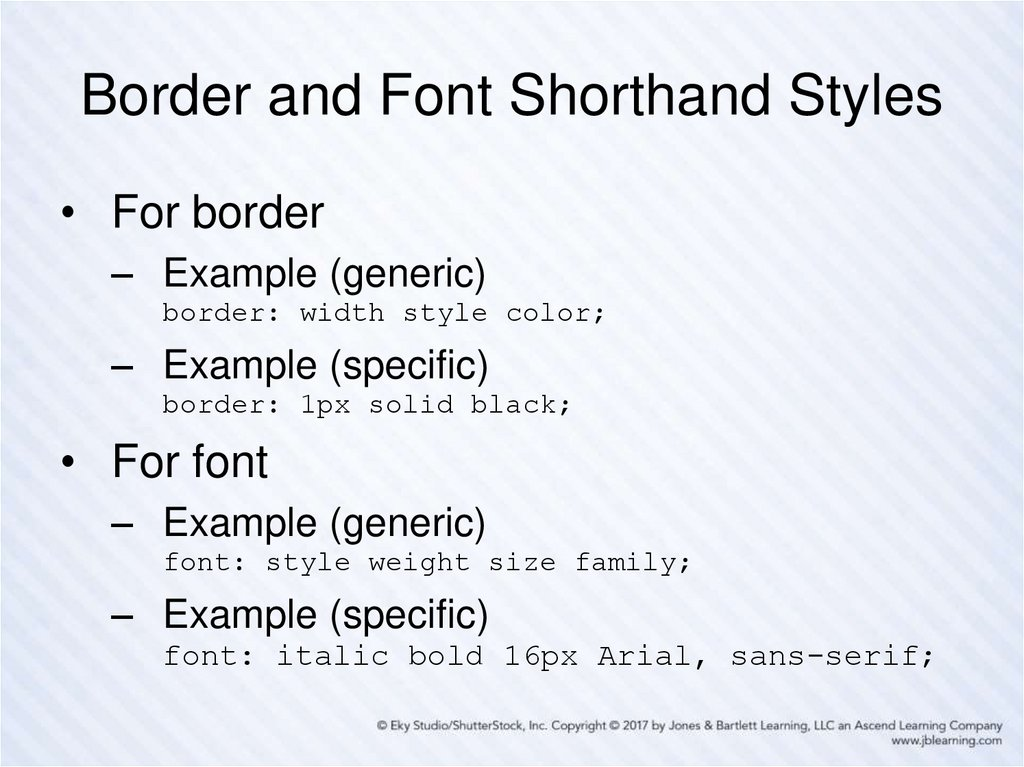 Border and Font Shorthand Styles
