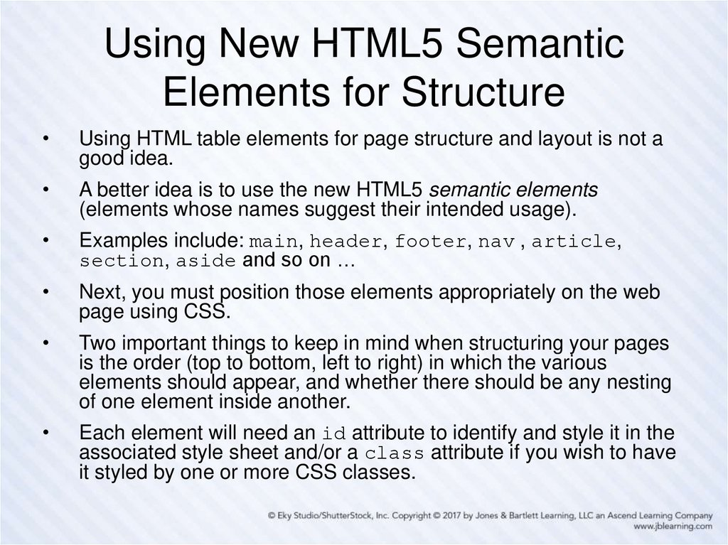 Using New HTML5 Semantic Elements for Structure
