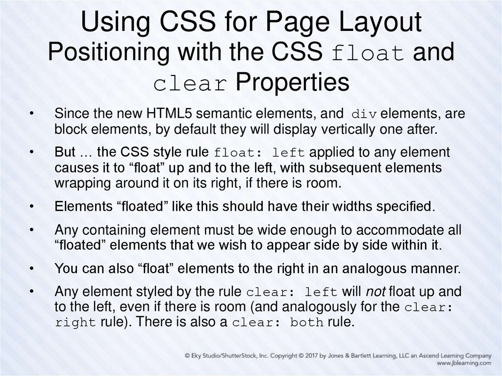 Using CSS for Page Layout Positioning with the CSS float and clear Properties