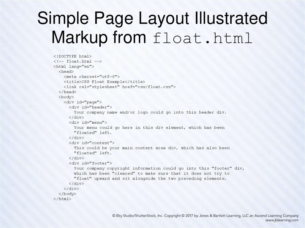 Simple Page Layout Illustrated Markup from float.html