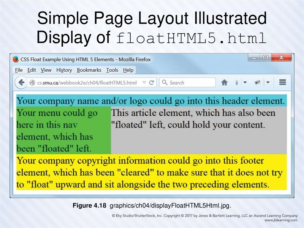 Simple Page Layout Illustrated Display of floatHTML5.html