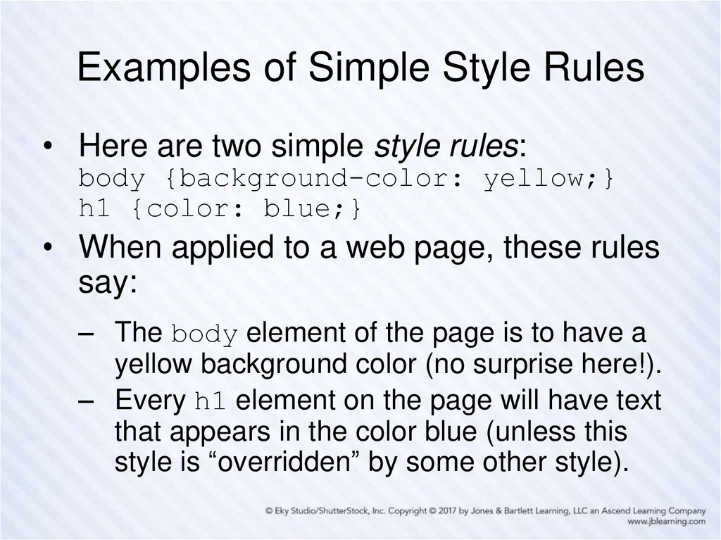 Examples of Simple Style Rules