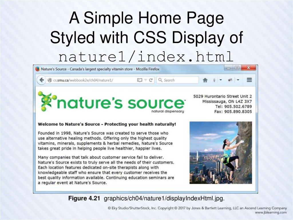 A Simple Home Page Styled with CSS Display of nature1/index.html