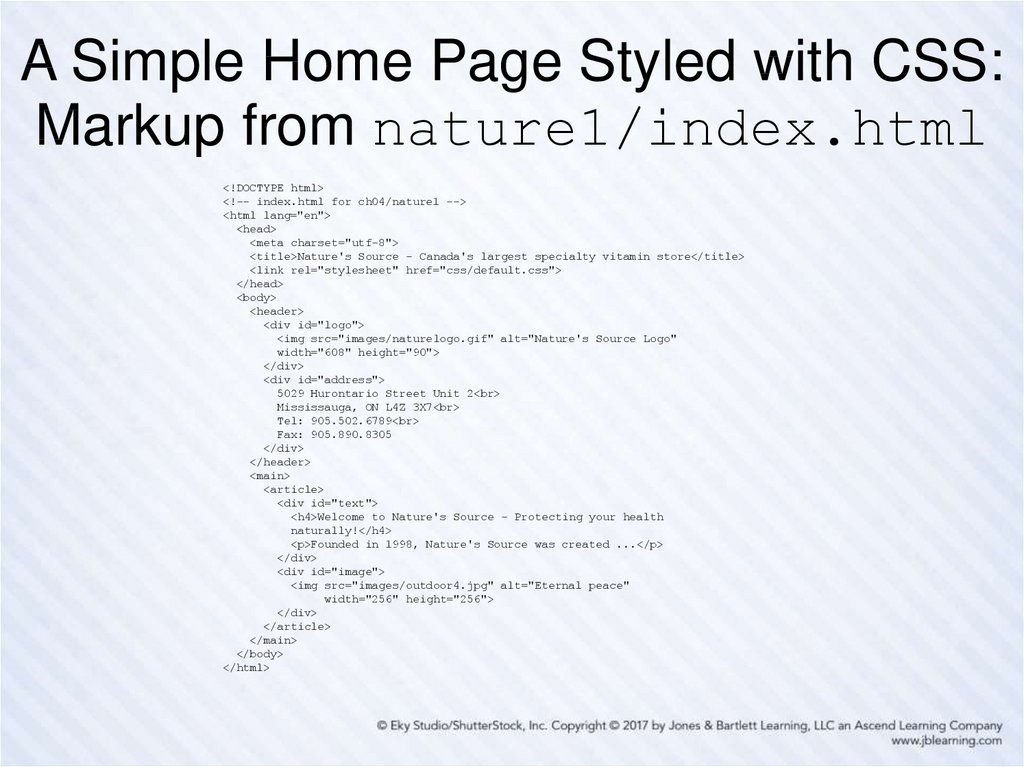 A Simple Home Page Styled with CSS: Markup from nature1/index.html