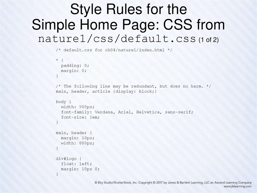 Style Rules for the Simple Home Page: CSS from nature1/css/default.css (1 of 2)