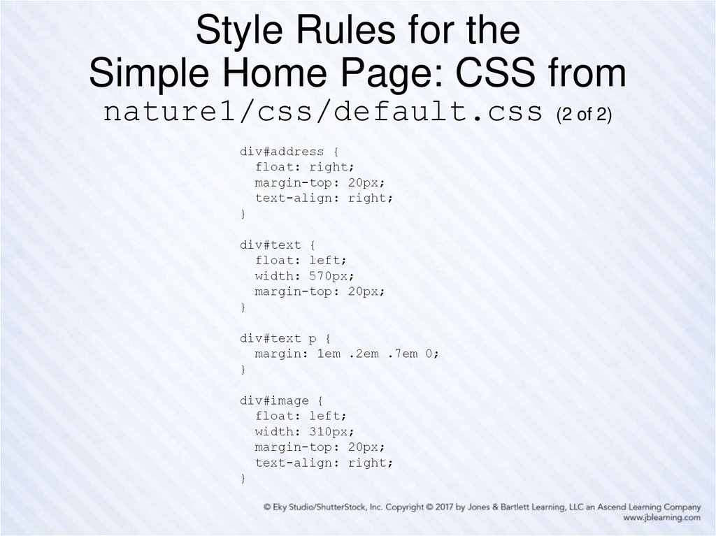 Style Rules for the Simple Home Page: CSS from nature1/css/default.css (2 of 2)