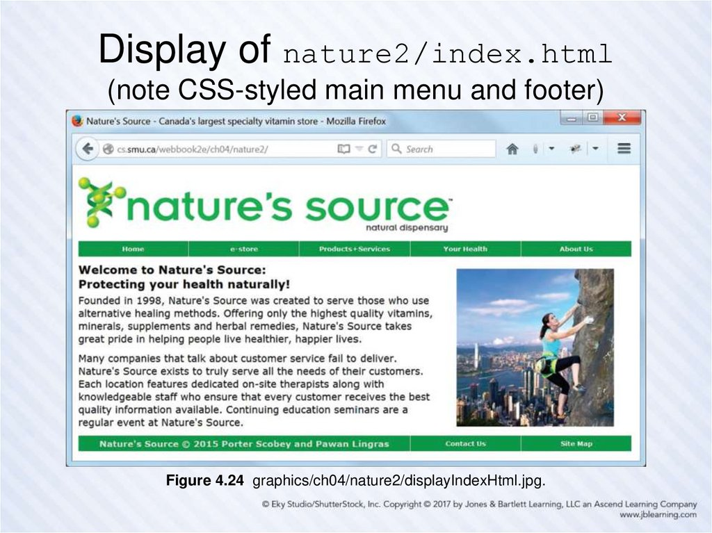 Display of nature2/index.html (note CSS-styled main menu and footer)