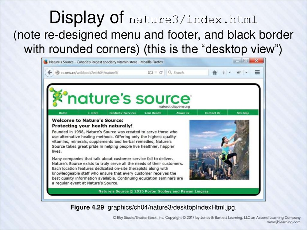 "Display of nature3/index.html (note re-designed menu and footer, and black border with rounded corners) (this is the ""desktop"