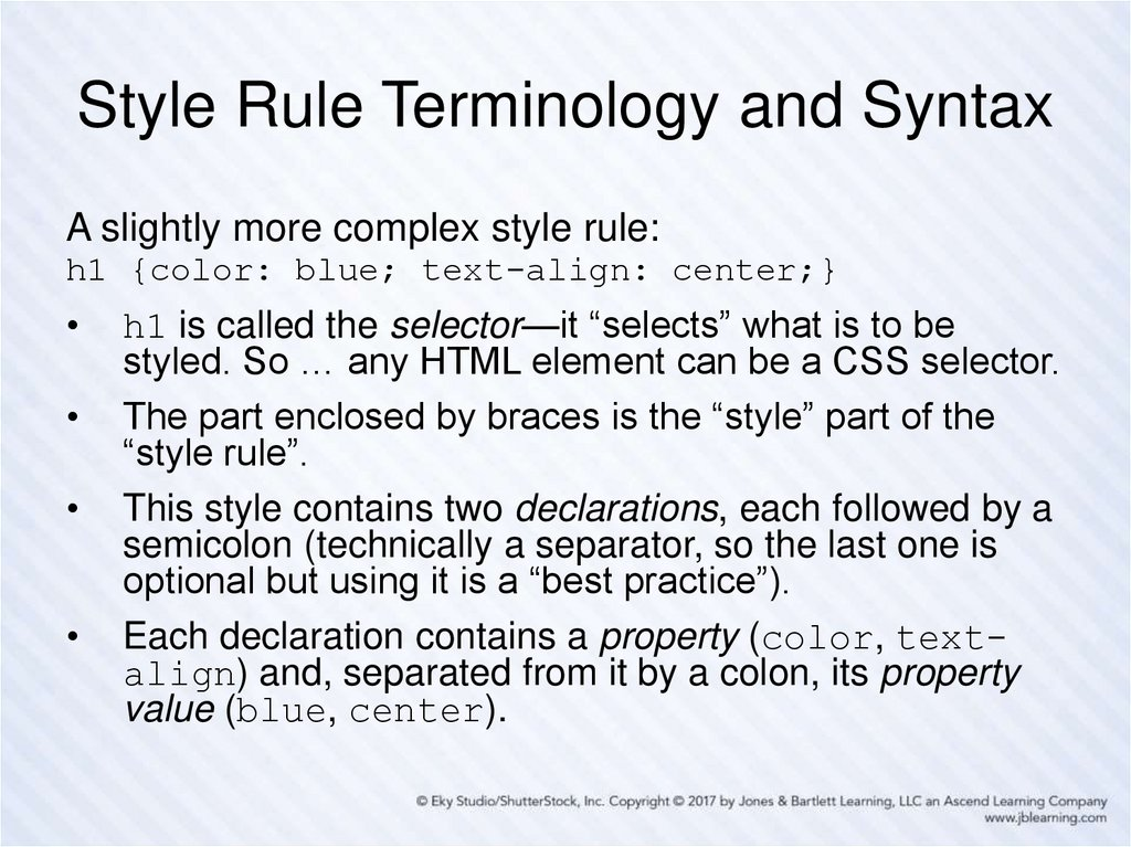 Style Rule Terminology and Syntax