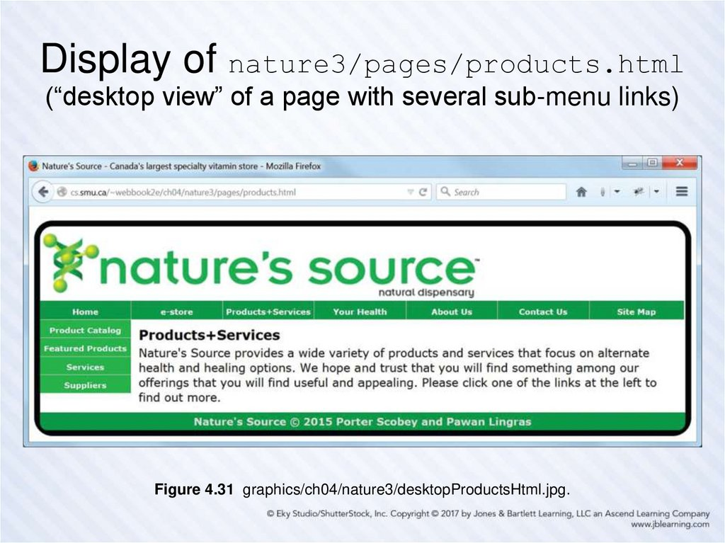 "Display of nature3/pages/products.html (""desktop view"" of a page with several sub-menu links)"