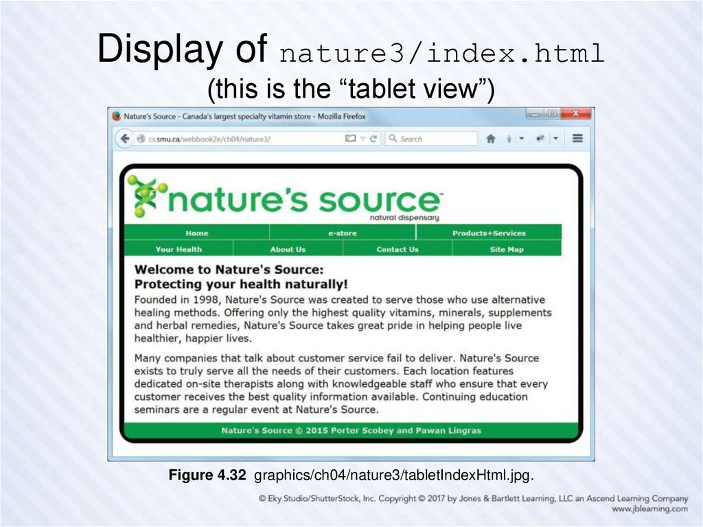 "Display of nature3/index.html (this is the ""tablet view"")"