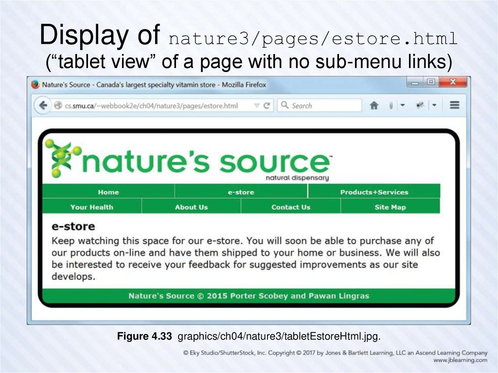 "Display of nature3/pages/estore.html (""tablet view"" of a page with no sub-menu links)"