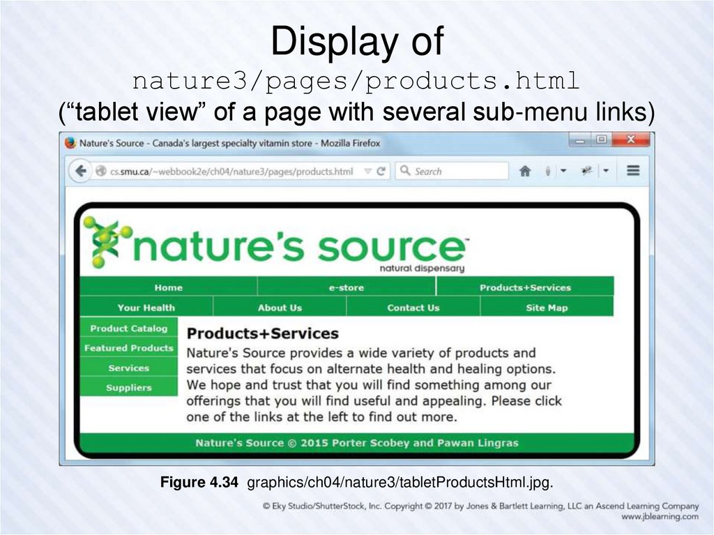 "Display of nature3/pages/products.html (""tablet view"" of a page with several sub-menu links)"