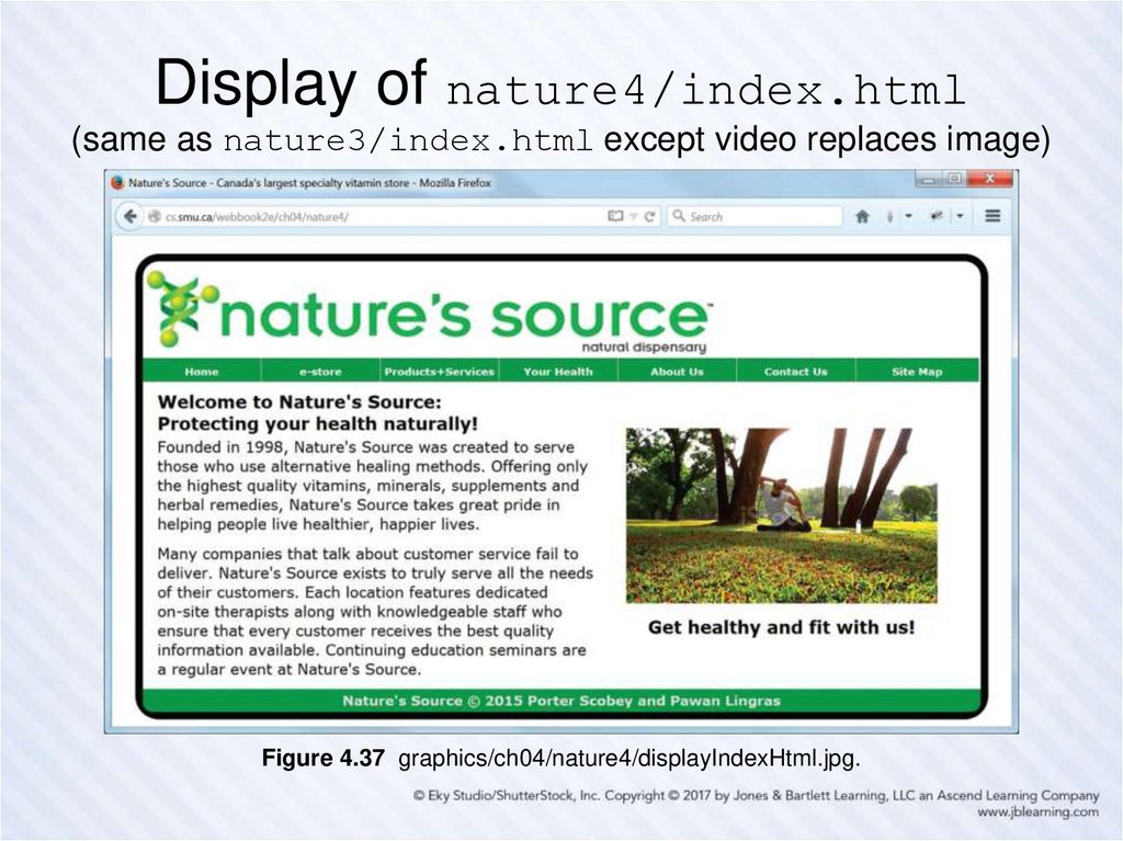Display of nature4/index.html (same as nature3/index.html except video replaces image)