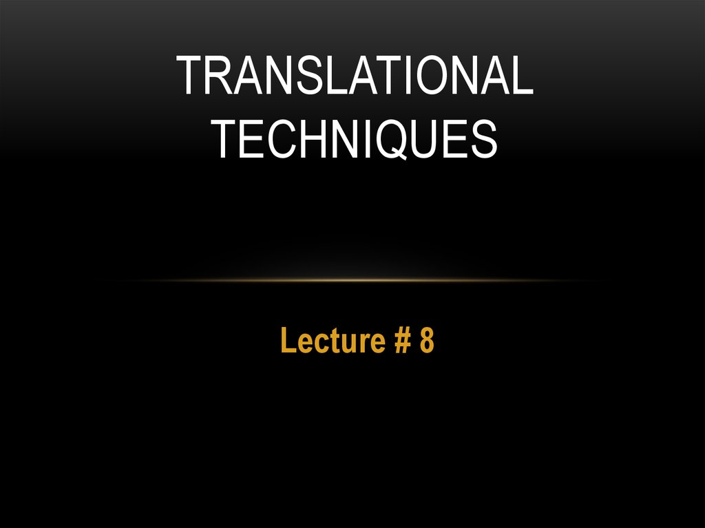 Translational Techniques